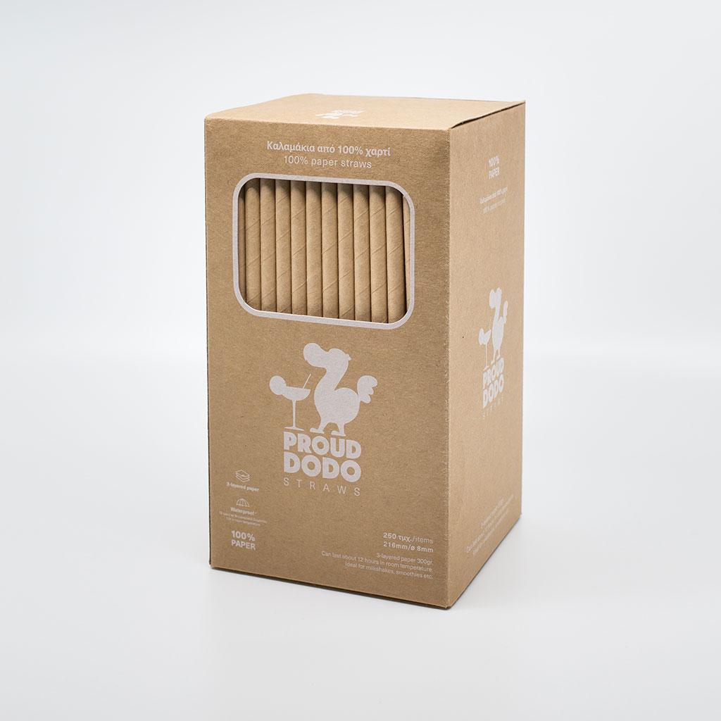 Χάρτινα Καλαμάκια Proud Dodo<br /> 250 Τεμ / 21,6εκ